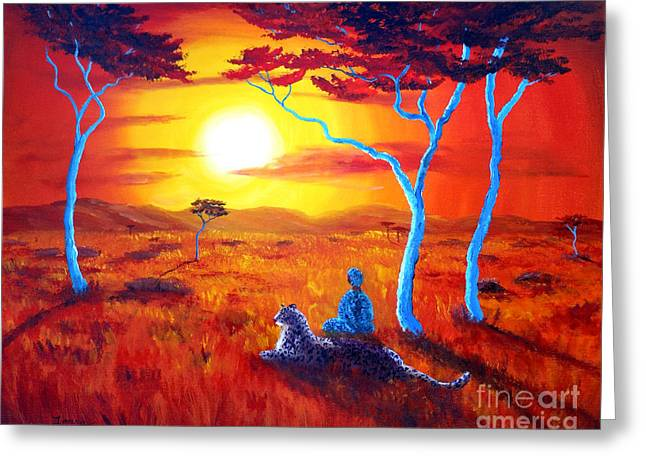 Surreal Landscape Greeting Cards - African Sunset Meditation Greeting Card by Laura Iverson