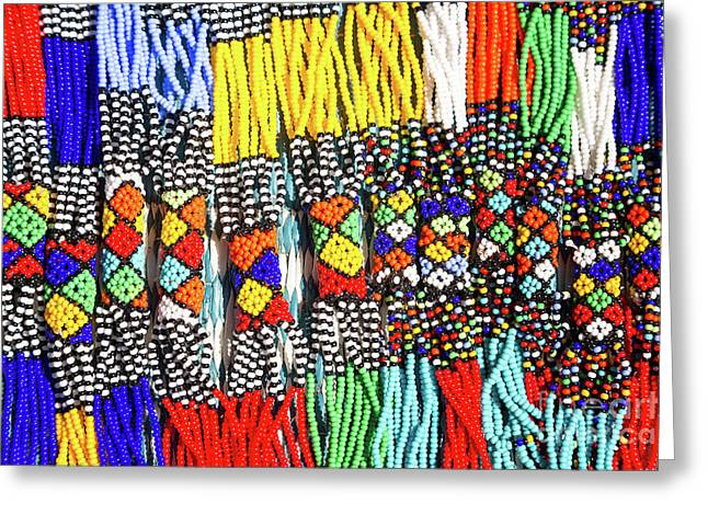 African Tribal Necklaces Greeting Card by Jane Rix