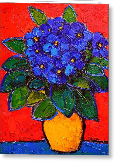 Abstract Expression Greeting Cards - African Violet Greeting Card by Ana Maria Edulescu