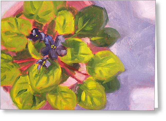 Small Floral Greeting Cards - African Violet Still Life Oil Painting Greeting Card by Nancy Merkle