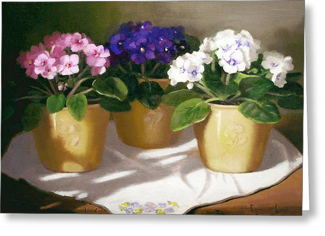African Violets Greeting Card by Linda Jacobus