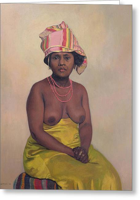 Gold Necklace. Greeting Cards - African Woman Greeting Card by Felix Edouard Vallotton