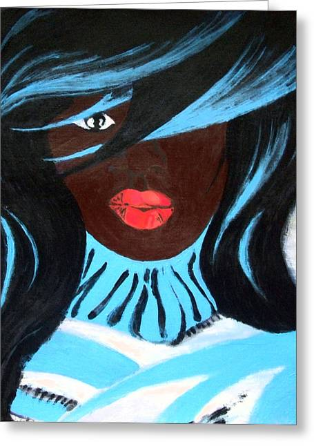 Figuratif Greeting Cards - African Woman in blue pull Greeting Card by Isabelle Mbore