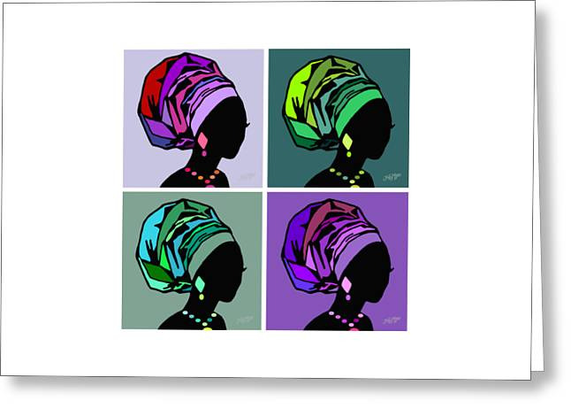 People Greeting Cards - African Women Head Wrap 3 Greeting Card by James  Mingo