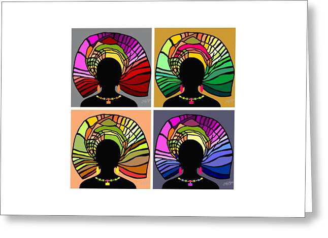 People Greeting Cards - African Women Head Wrap 34 Greeting Card by James  Mingo