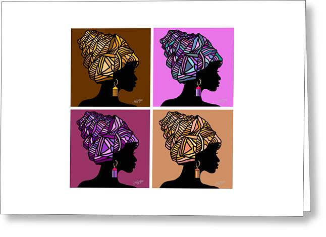 People Greeting Cards - African Women Head Wrap 4 Greeting Card by James  Mingo