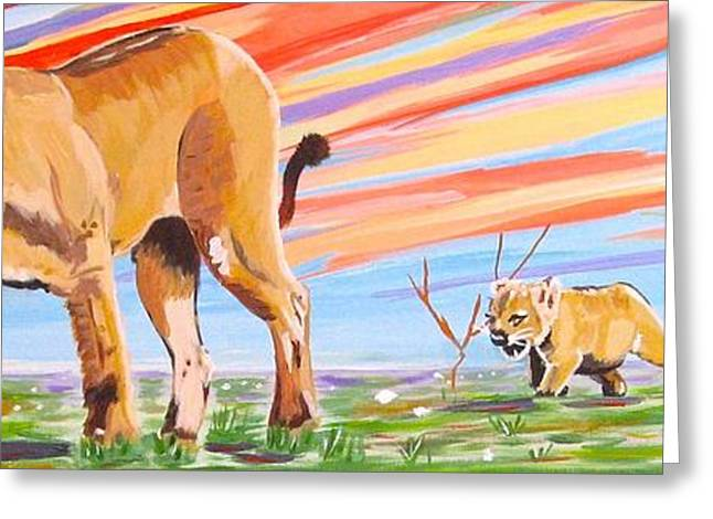 White Paintings Greeting Cards - Africn Lion and Cubs Greeting Card by Phyllis Kaltenbach