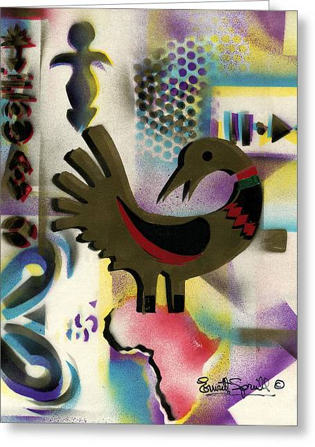 Afro - Aesthetic - K  - Sankofa Bird  And Adinkra Symbol For Abundance Greeting Card by Everett Spruill