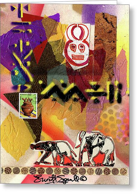 Afro Collage - O Greeting Card by Everett Spruill