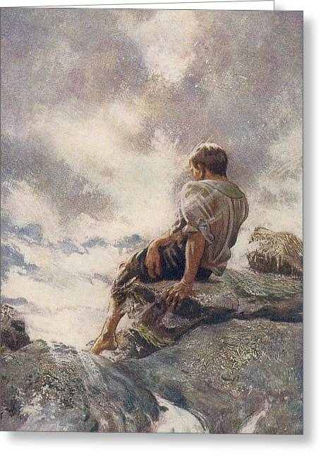 Reach Drawings Greeting Cards - After Being Shipwrecked Robinson Crusoe Greeting Card by Vintage Design Pics