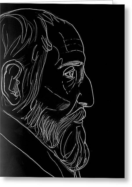 White Beard Mixed Media Greeting Cards - After Bernini Greeting Card by Mary Bedy