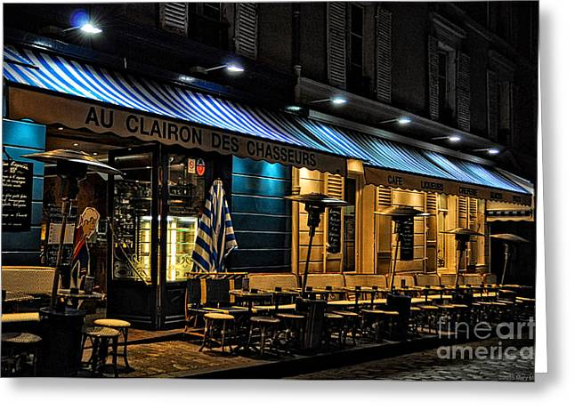 Night Lamp Greeting Cards - After Closing - Paris Greeting Card by Mary Machare