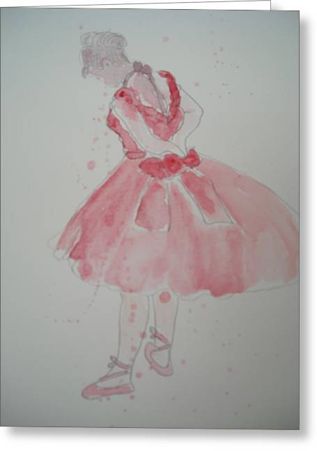After Degas In Watercolour 'ballerina Rehearsing' Greeting Card by Maro Kirby