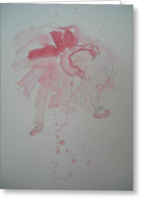 Tying Shoe Greeting Cards - After Degas in watercolour Ballerina Tying her Shoes Greeting Card by Maro Kirby