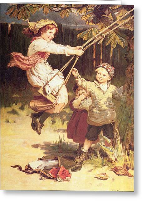 Kids Books Paintings Greeting Cards - After School Greeting Card by Frederick Morgan