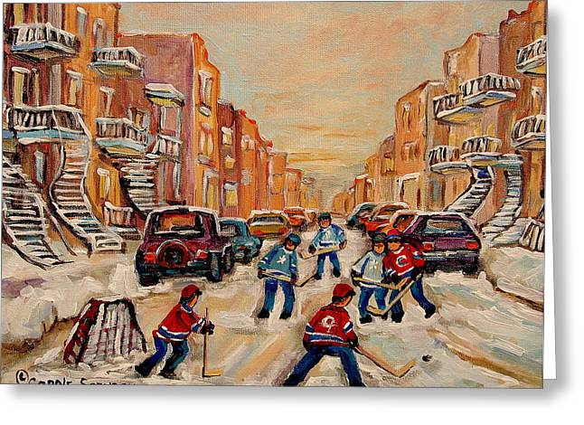 Carole Spandau Hockey Art Greeting Cards - After School Hockey Game Greeting Card by Carole Spandau