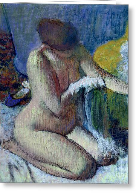 Nude Female Greeting Cards - After the Bath Greeting Card by Edgar Degas
