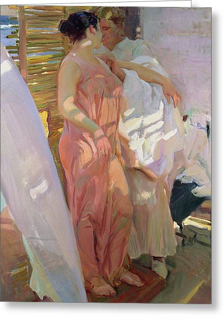 Dressing Greeting Cards - After the Bath Greeting Card by Joaquin Sorolla y Bastida