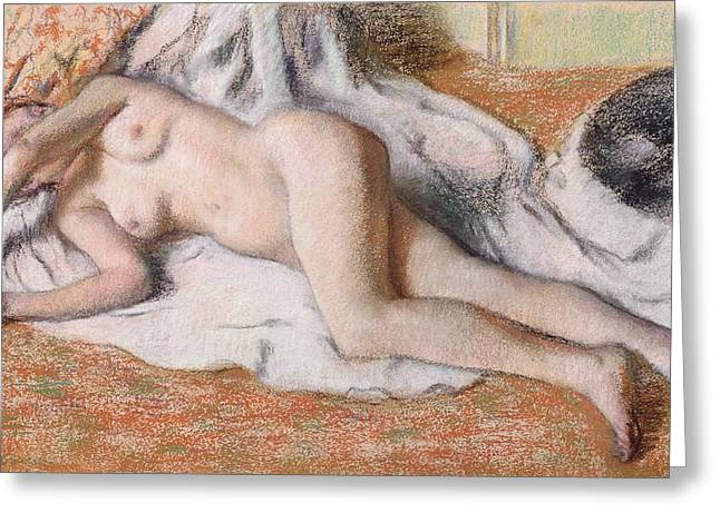 Beauty Pastels Greeting Cards - After the Bath or Reclining Nude Greeting Card by Edgar Degas