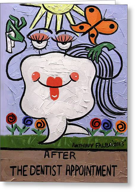 After The Dentist Appointment Greeting Card by Anthony Falbo