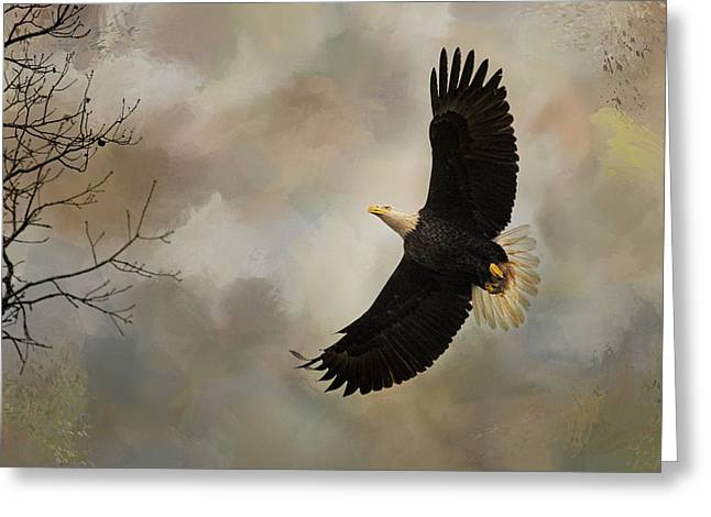 Eagles In Flight Greeting Cards - After The Intruder Greeting Card by Jai Johnson
