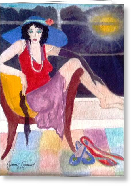 Lounge Paintings Greeting Cards - After The Party Greeting Card by Jennie Samuel