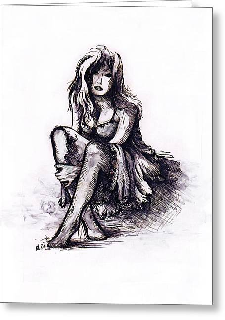 Girl Drawings Greeting Cards - After the party Greeting Card by Rachel Christine Nowicki