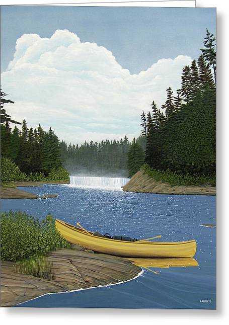 Canoe Waterfall Greeting Cards - After the Rapids Greeting Card by Kenneth M  Kirsch