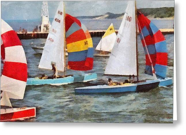 Crew Digital Art Greeting Cards - After the Regatta  Greeting Card by Michelle Calkins