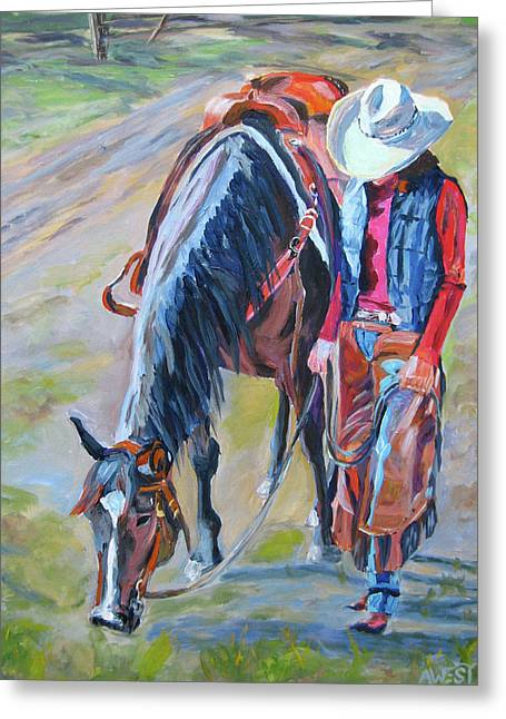 Horse And Riders Greeting Cards - After the Ride Greeting Card by Anne West