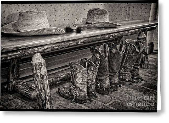 Black Boots Greeting Cards - After the Ride Greeting Card by Crystal Nederman