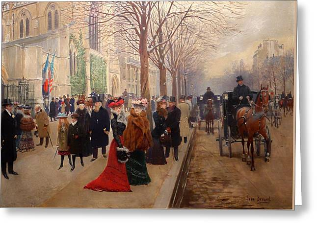 Religious Paintings Greeting Cards - After The Service At The Church Of The Holy Trinity Greeting Card by Jean Beraud