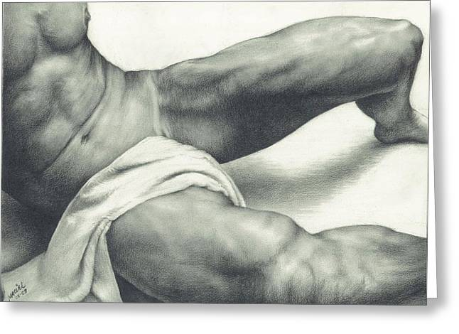 Erotic Male Drawings Greeting Cards - After the Steam Greeting Card by Maciel Cantelmo