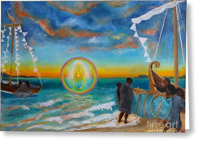 Christ Walking On Water Greeting Cards - After the Storm Greeting Card by Anne Cameron Cutri