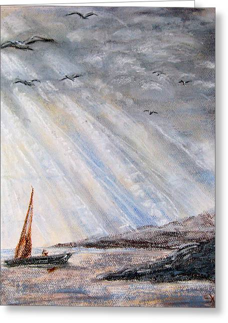 Ocean Sailing Pastels Greeting Cards - After the Storm Greeting Card by Sherlyn Andersen