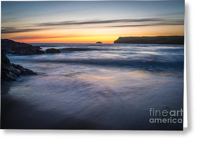 Lapping Greeting Cards - After The Sunset At Polzeath Cornwall Greeting Card by Amanda And Christopher Elwell