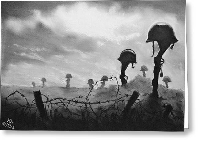 Bravery Pastels Greeting Cards - After The War Greeting Card by Kevin Hubbard