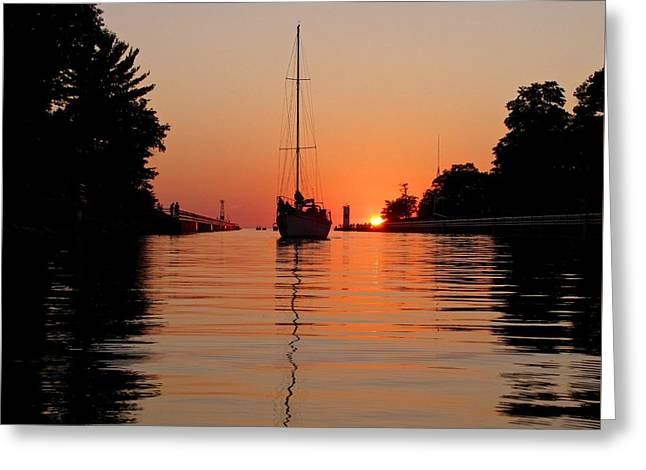Sailboats In Water Greeting Cards - Tengus Arrives in Pentwater  Greeting Card by Jane Greiner