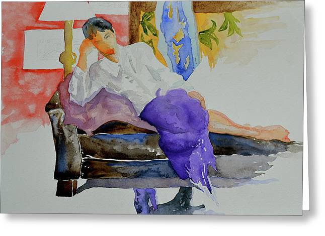 Purple Couch Greeting Cards - After Work Greeting Card by Beverley Harper Tinsley