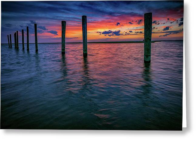 Afterglow On Great South Bay Greeting Card by Rick Berk
