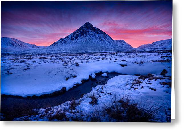 Buachaille Etive Mor Greeting Cards - Afterglow Greeting Card by Peter OReilly