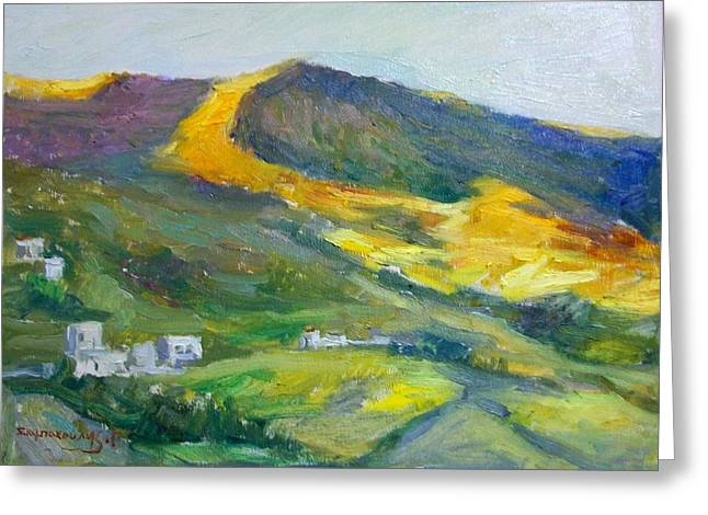 Afternoon Amorgos Greeting Card by George Siaba