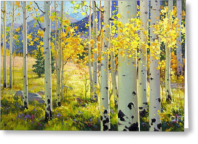 Birch Tree Greeting Cards - Afternoon Aspen Grove Greeting Card by Gary Kim