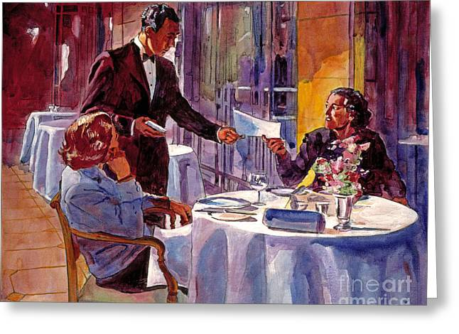 Menu Paintings Greeting Cards - Afternoon At The Dorchester Greeting Card by David Lloyd Glover