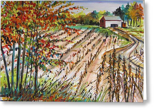 Jmwportfolio Drawings Greeting Cards - Afternoon Fields Greeting Card by John  Williams