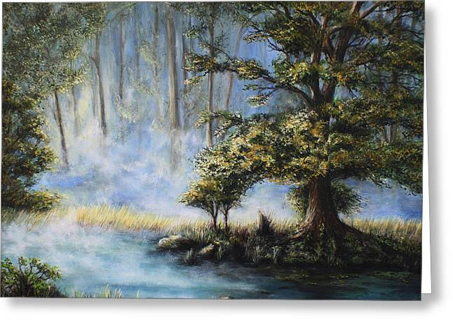 Spring Floods Paintings Greeting Cards - Afternoon Glow Greeting Card by Danuta Bennett
