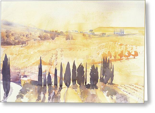 Tuscan Valley Greeting Cards - Afternoon in Val dOrcia Greeting Card by Simon Fletcher
