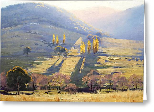 Farm Landscape Greeting Cards - Afternoon Light Tarana  Greeting Card by Graham Gercken