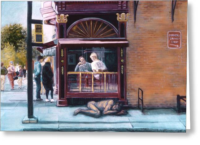John Clum Greeting Cards - Afternoon on Ithaca Commons Greeting Card by John Clum