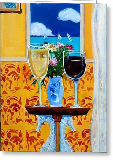 Table Wine Greeting Cards - Afternoon Regatta Greeting Card by Linda Kegley